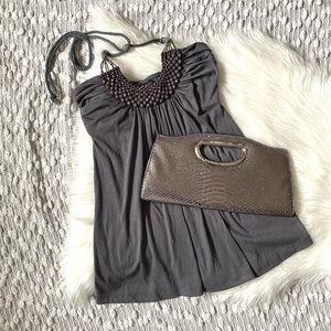 Cute grey halter top with beaded neckline
